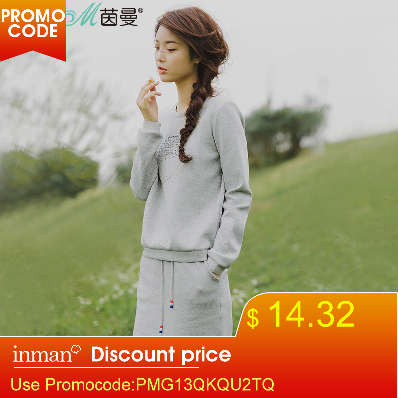INMAN Suit Letter Two-Piece Florals Casual Women's Spring Autumn Pullovers Embroidered title=