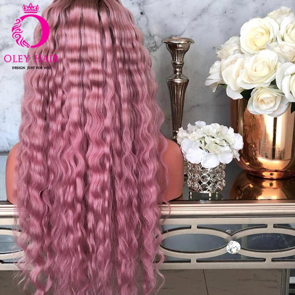 OLEY Hair High Temperature Fiber Synthetic Lace Front Wig High Density Water Wave Ombre Pink Wig Glueless Wigs For Black Women