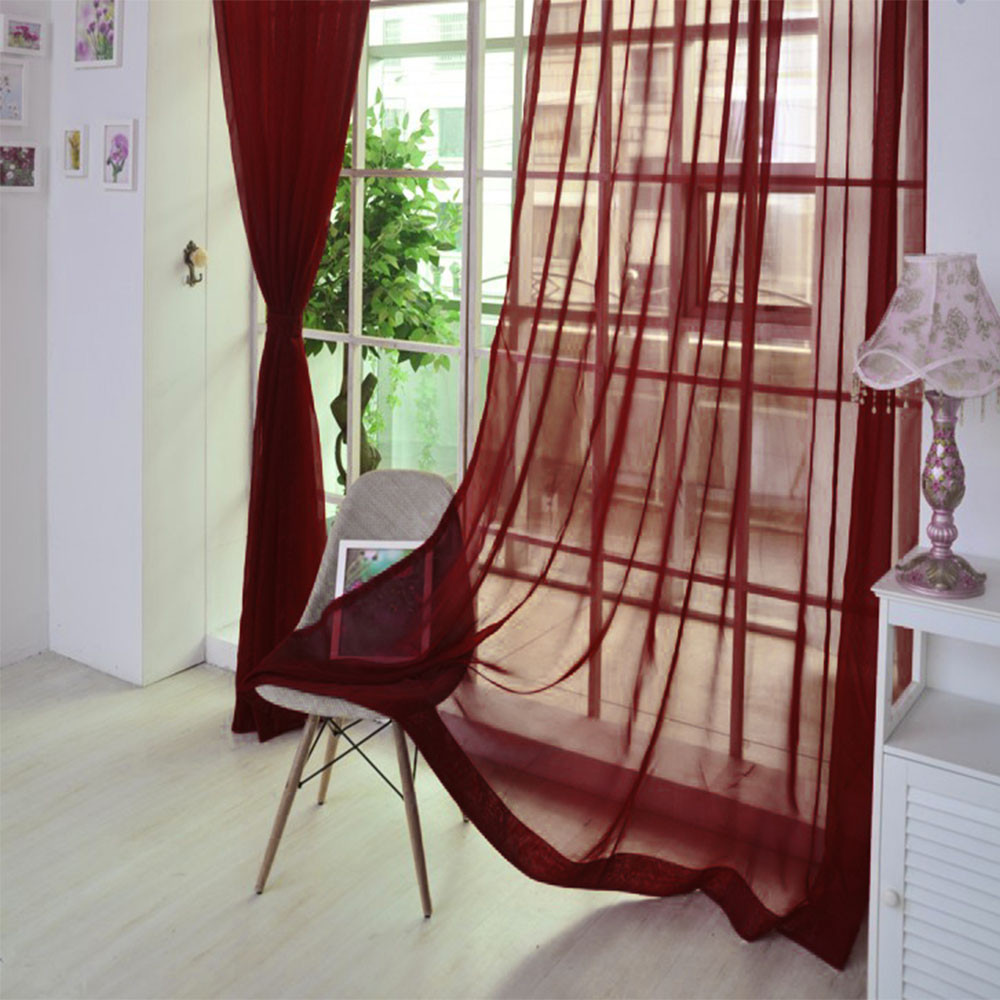 Curtains Valances Scarf Panel Door Sheer Cortinas Window Tulle Pure-Color 1pcs -Lr2 title=