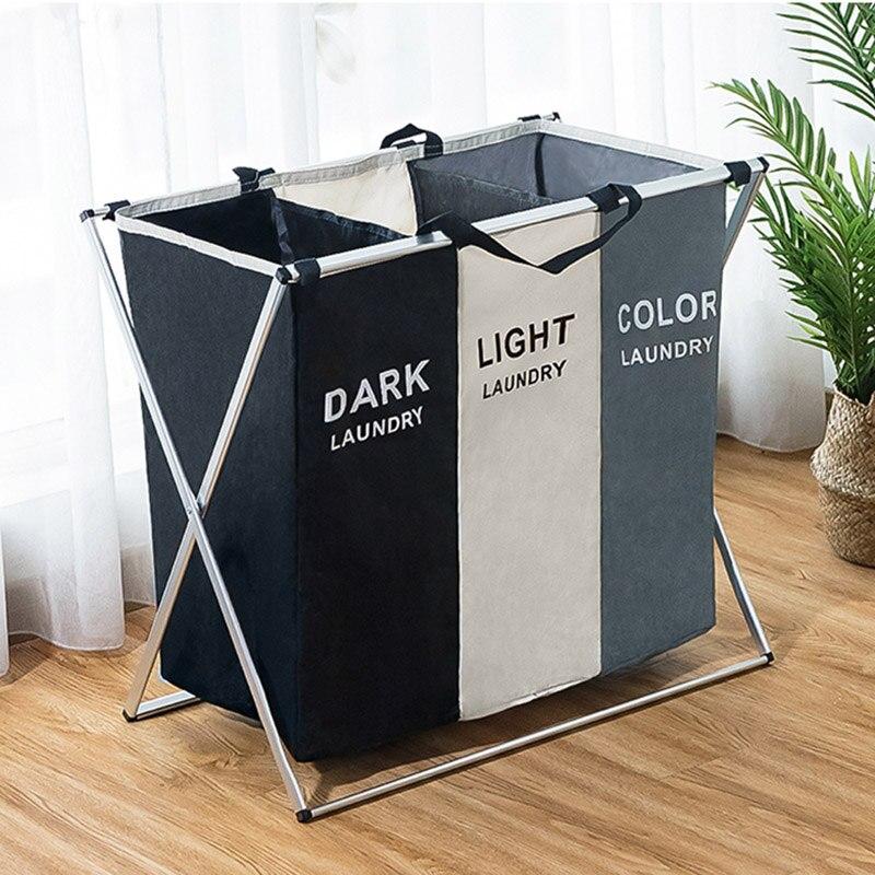 Large foldable dirty clothes storage basket storage bag three grid home hamper basket hamper classification laundry basket