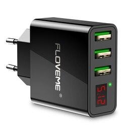 FLOVEME USB Зарядное устройство светодиодный цифровой 3 Порты Универсальный ЕС Plug мобильный телефон Зарядное устройство переходник зарядное ус...