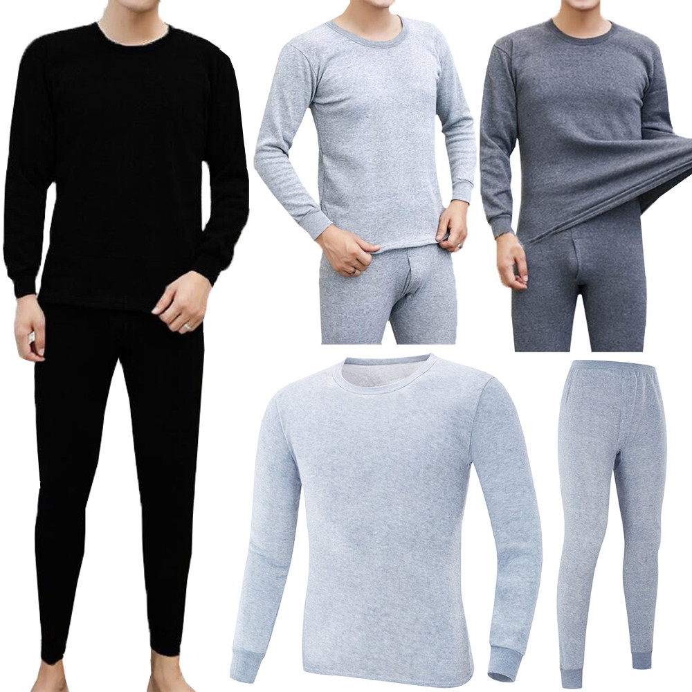Winter Underwear Thermal-Clothing Long-Johns Warm Thick Termica 2PCS Camiseta Men's title=