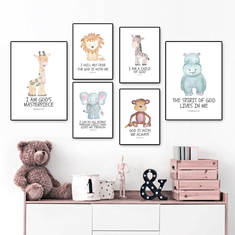 3 Baby Jungle Animal Safari Prints Nursery Prints Wall Art Christening Gift