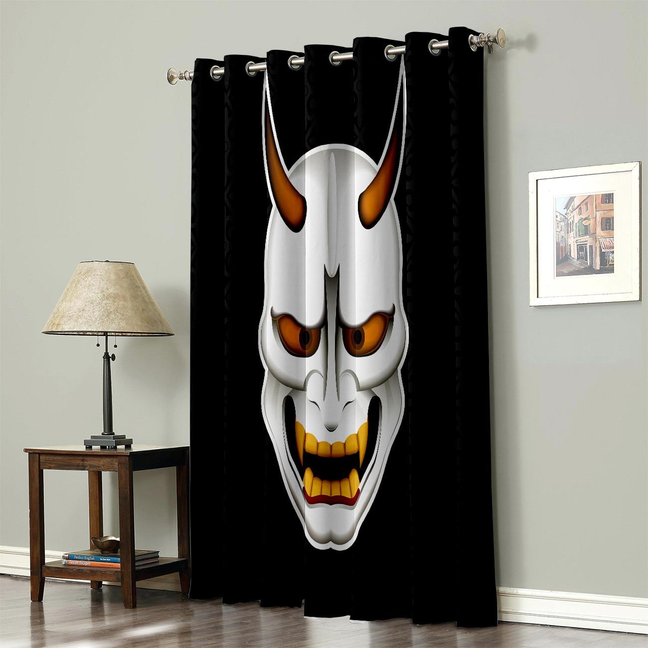 Japanese Samurai Mask Window Treatments Curtains Valance Window Curtains Dark Outdoor Bedroom Kitchen Fabric Decor Kids Curtain