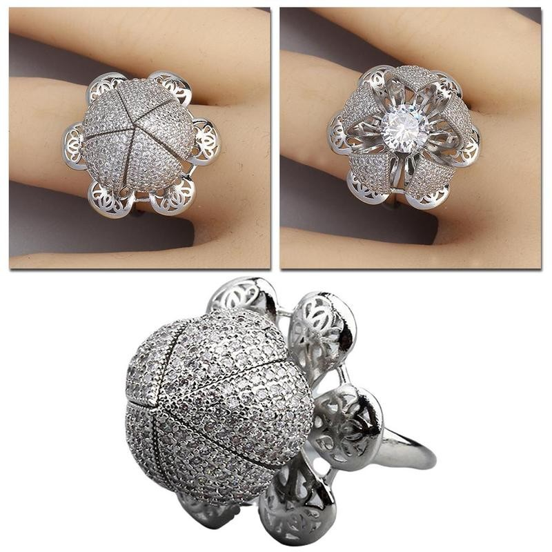 Flocaw Adjustable Flower blooming Ring Wedding Jewelry Love Ring for Women