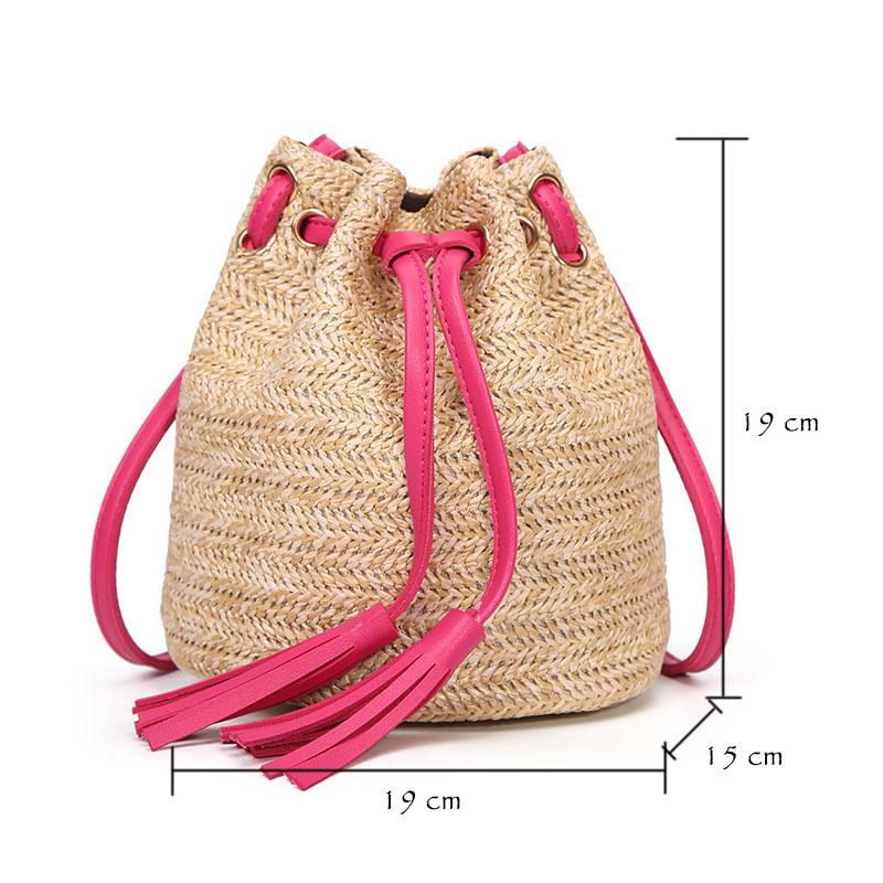 M.S Beach Solid String Mini Bucket Bags Female Summer Knitting Straw Bags Sweet Hot Casual Holiday Crossbody Bag Handbags SW061 (5)