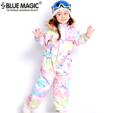 Jumpsuit Snowboard Jacket 19-Ski-Suits Bluemagic Skiing Girls Waterproof Kids Overall-30degrees