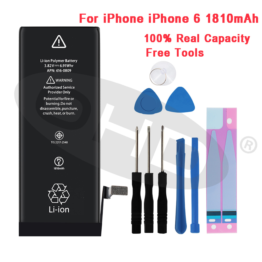 100% Più Nuovo Batteria Al Litio Per Apple iphone 6S 6 7 5S 5 Batterie di Ricambio Cellulare Per iphone 5 5s 6 s Interno telefono Bateria title=