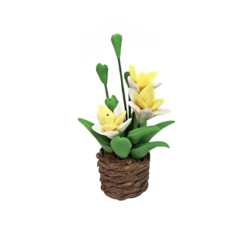 1:12 Orquídea amarillo en una olla casa de muñecas en miniatura accesorios Flores