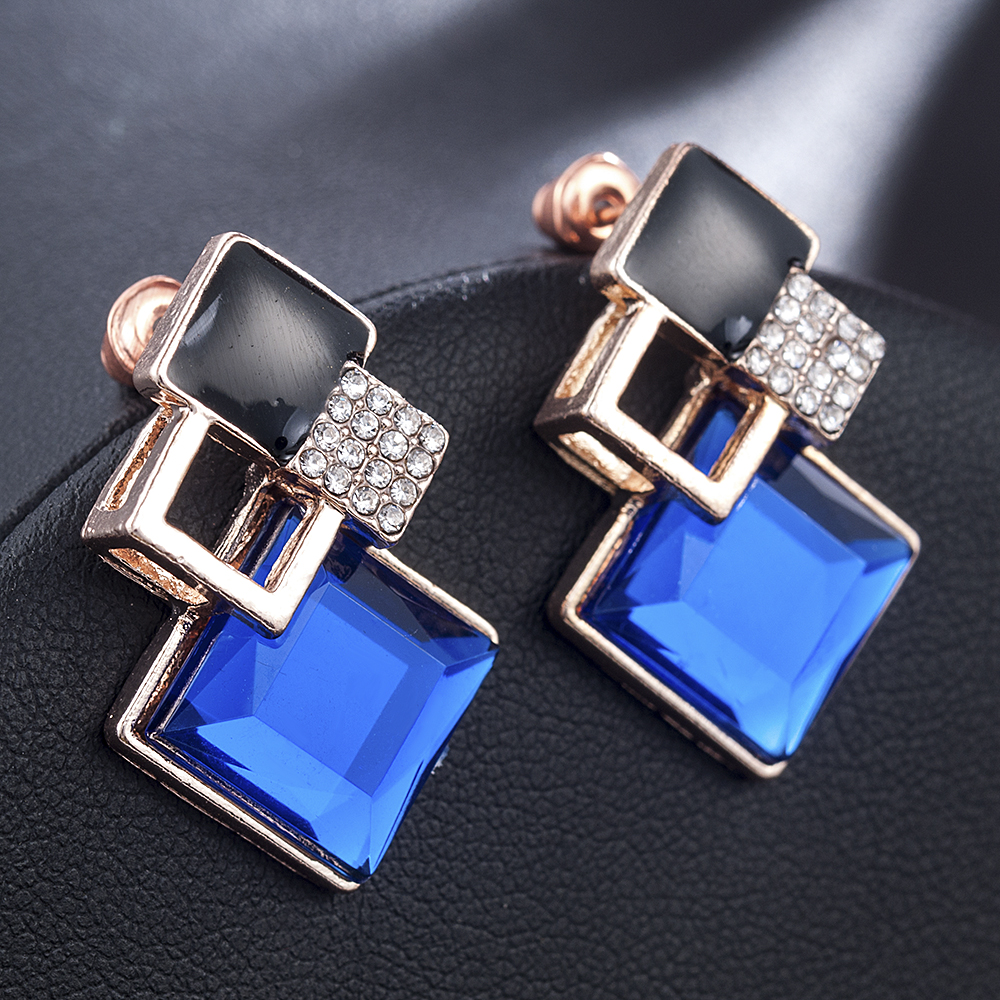 New Fashion Women 2019 Earrings Blue Statement Gold Silver Plated Crystal Big Dangle Drop Earrings