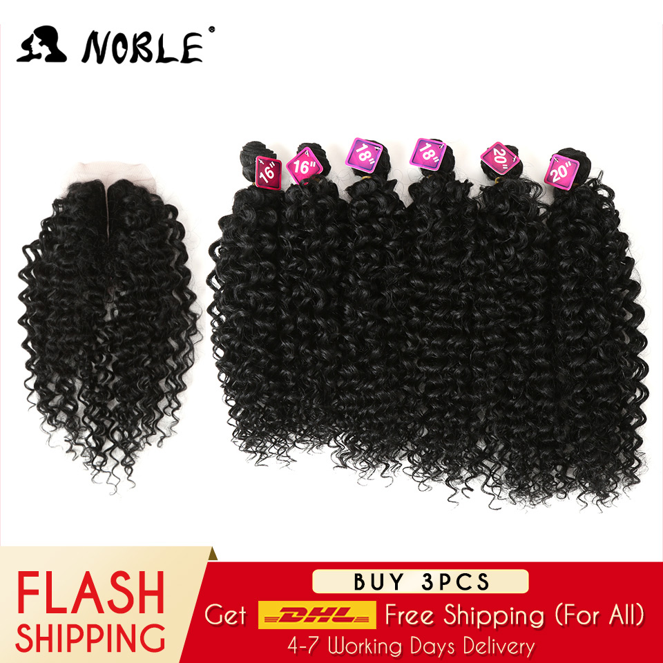 Noble Kinky Curly Hair-Bundles Closure Weave Synthetic-Hair Afro African-Lace For Women title=