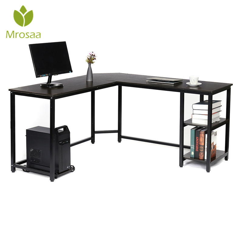 Desk Cpu-Stand Computer-Desk Workstation Shelves Gaming-Table 59inch-Corner Study Office title=