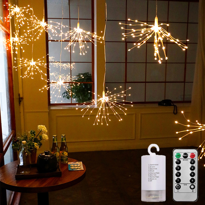 100/200 Festival Hanging Starburst String Lights DIY Firework Copper Fairy Garland Christmas lights outdoor Twinkle Light