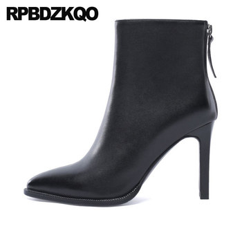 booties fur boots luxury brand shoes women ankle 2019 chunky black comfortable casual high heel plus size pointed toe big winter