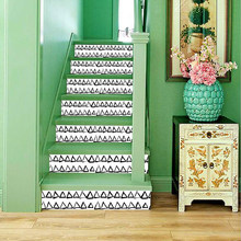 Black White Design Mosaic Tile Wall Stair Stickers Self Adhesive Waterproof PVC Wall Sticker Kitchen Ceramic Stickers Home Decor(China)