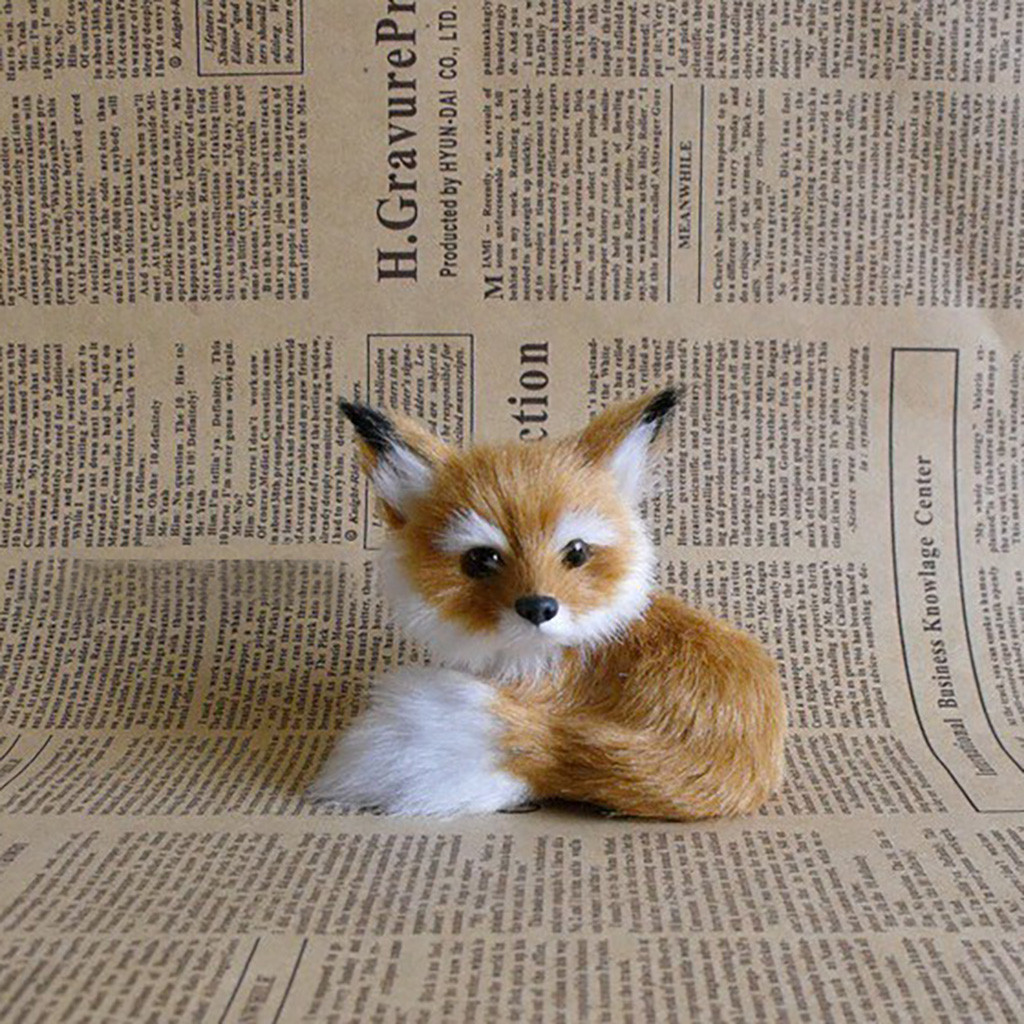 Lovely Little fox Model Toys Photography for Children Realistic Stuffed Animal Soft Plush Kids Toy Animal #B
