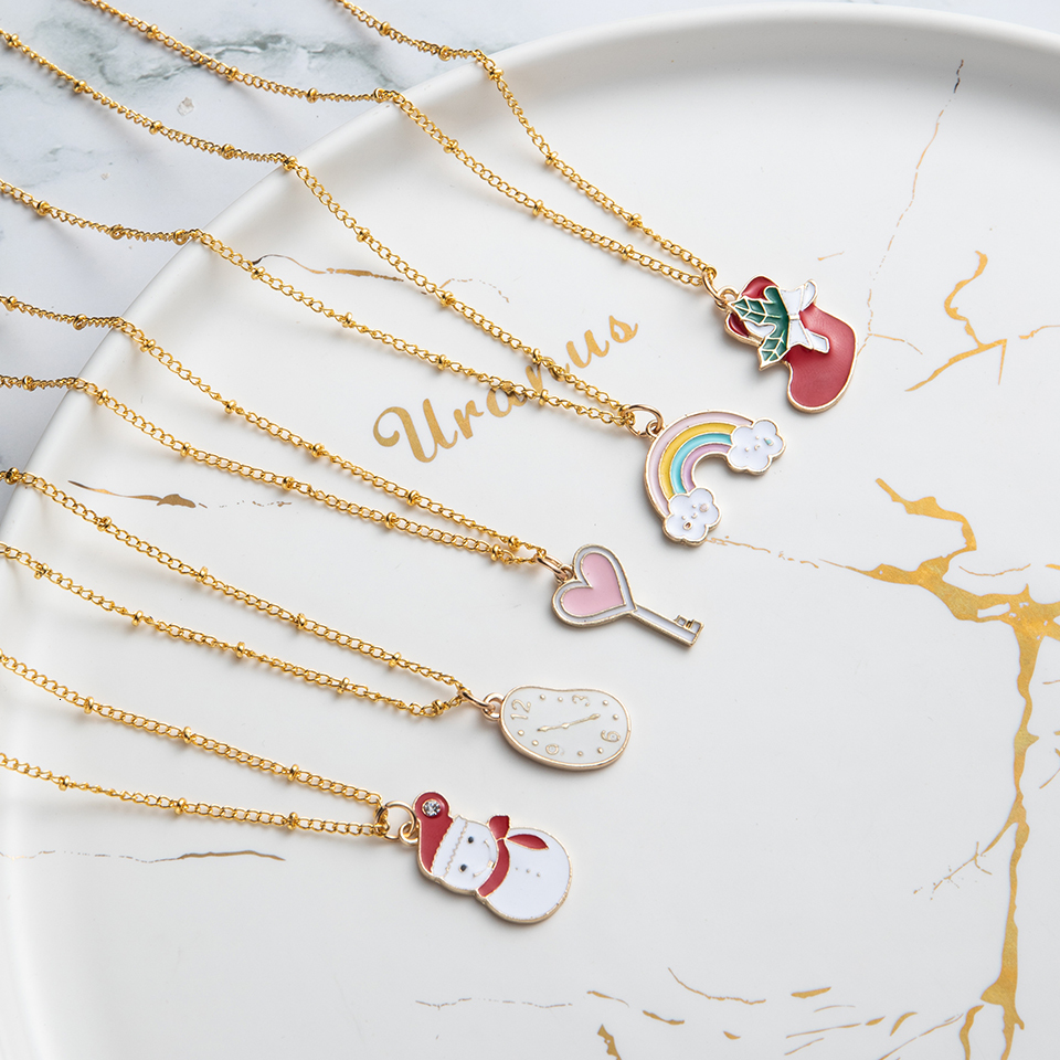 Anime Character Cartoon Necklaces Women Girl Children Christmas Deer Stocking Santa Claus Planet Moon Star Necklace&Pendant Gift (42)