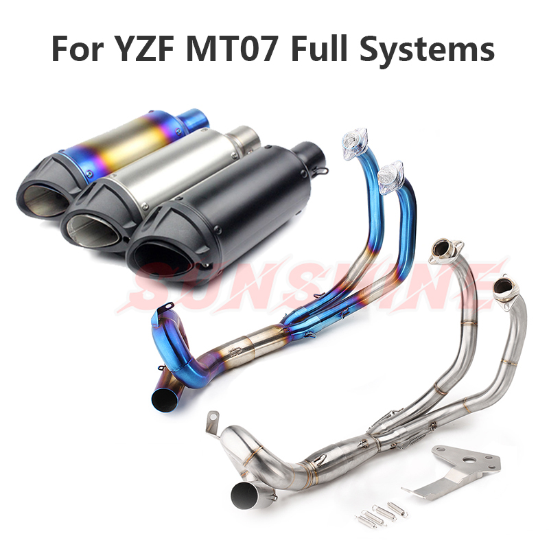 For YZF MT-07 FZ-07 XSR700 Exhaust Motorcycle Full Systems Stainless Steel 304 Exhaust Front Pipe Slip on Pitbike FZ07 MT07 Blue