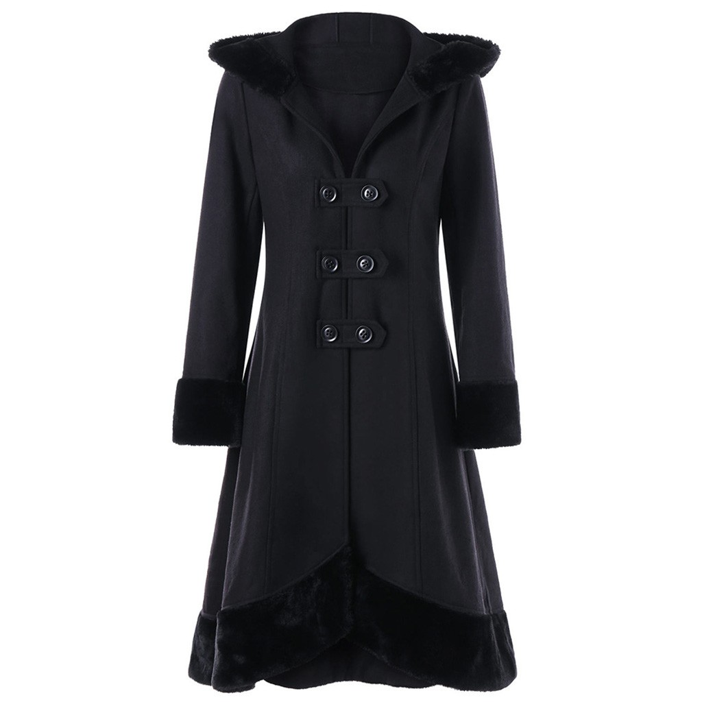 Winter Jacket Women Jackets Trench Jackets Belt Hoodie Overcoat Cloak Pure Black Long Fur Collar Hooded Big Clothes Wool 19Oct23