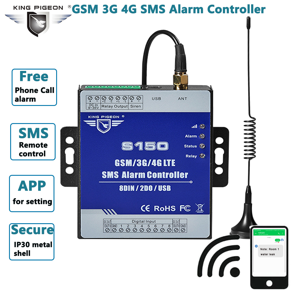 GSM Alarm Relay-Switch Remote-Monitoring-System Industrial-Iot S150 SMS In-Built 8DIN title=