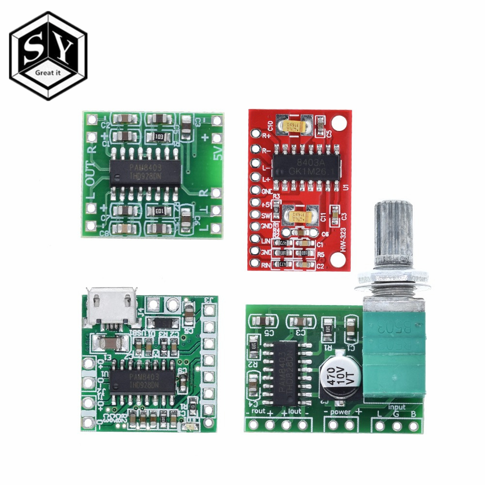 PAM8403 Audio Amplifier Module 2 x 3 Watt 2.5-5V USB Class D Digital Amplifier
