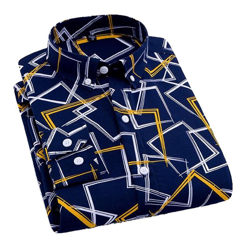 Casual Long Sleeved Printed shirt Slim Fit Male Social Business Dress Shirt Brand Men Clothing Soft Long Sleeve Turn-Down Collar