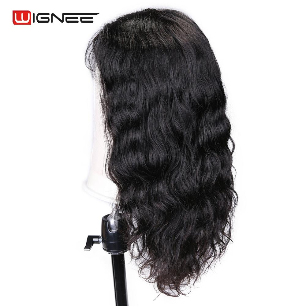 Wignee Natural Wave Human Hair Wigs With Baby Hair For Black/White Women 150% High Density Pre-plucked Hairline Lace Human Wigs