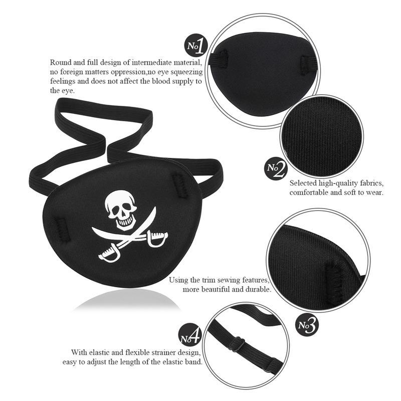 OUNONA Pirate Skull Crossbone Children Kids Eye Patch Eye Mask for Lazy Eye Black