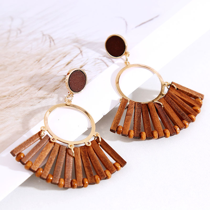 19 Fashion Boho Round Square Geometric Wooden Drop Earrings For Women Bohemian Vintage Wood Beaded Dangle Earring Jewelry Gift 3