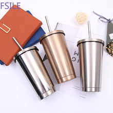 Coffee Mug Metal-Cup Stainless-Steel Drink-Straw 500ml with Lid Beer-Mugs for Vacuum
