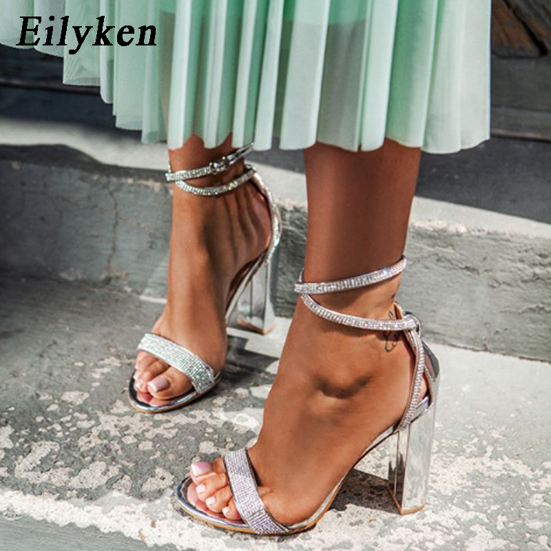 Eilyken Women Sandals Buckle-Strap Stiletto Square Heel Crystal Wedding Silver Bling title=