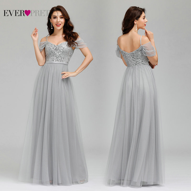 New White Prom Dresses Long Ever Pretty Elegant A-Line Spaghetti Straps Tulle Sequined Formal Party Gowns Robe De Soiree 2020