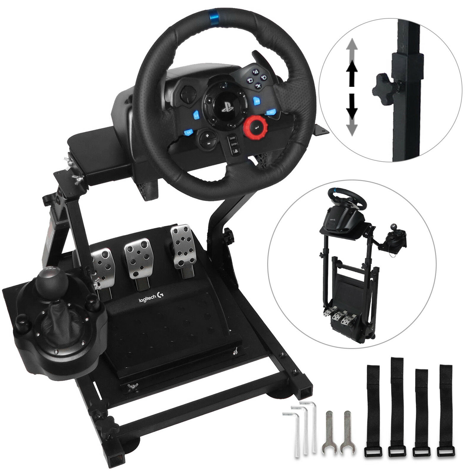 Racing Simulator Steering Wheel Stand Logitech G29 Thrustmaster T300RS title=
