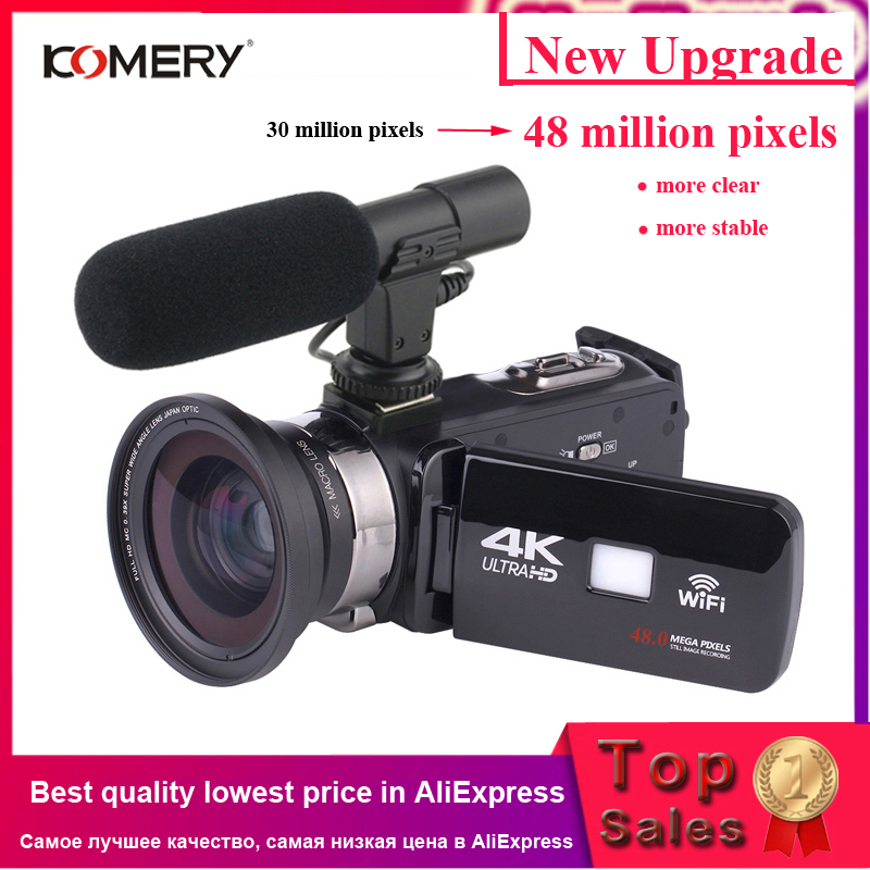 KOMERY 4K Camcorder Camera Time-Lapse Wifi Night-Vision LCD with Micr Touch-Screen Fotografica title=