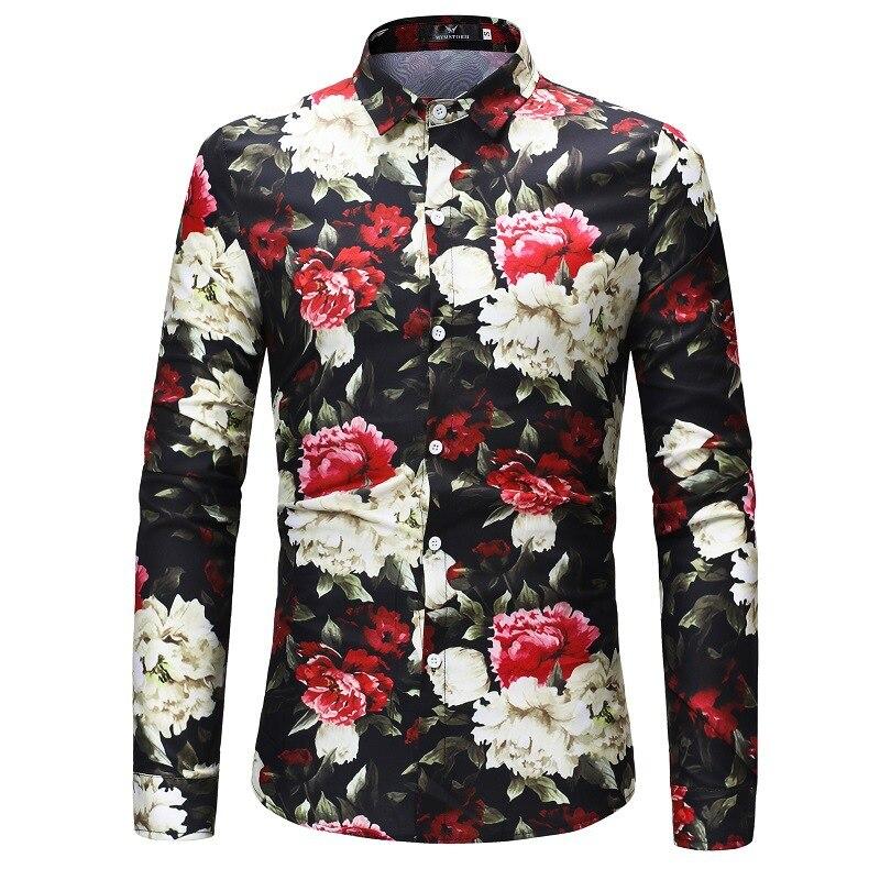 Men/'s Casual Shirt Slim Fit Men/'s Casual Button Down Flower Shirt Long Sleeve Formal Dress Shirts Men Male Clothing