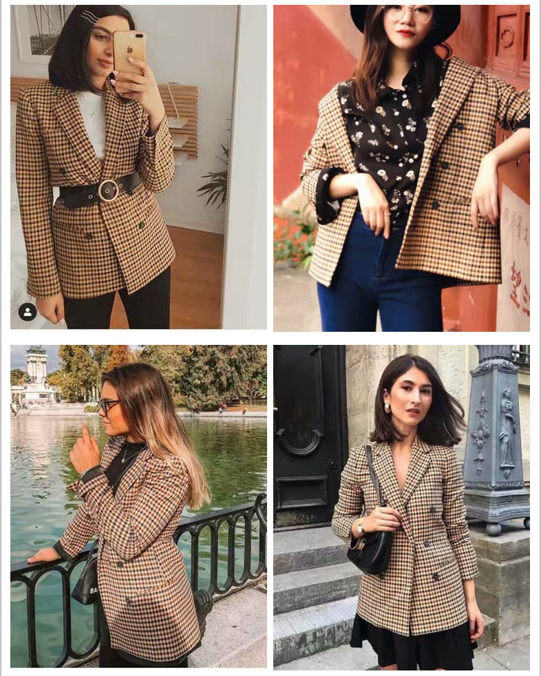 Fashion Autumn Women Plaid Blazers and Jackets Work Office Lady Suit Slim Double Breasted Business Female Blazer Coat Talever 3