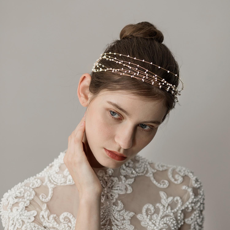 Bride Wedding Hair Vine Bridal Multi-layer Headpiece Accessory Gold Petite Beads Headband Accessory Weaving Flower Garland