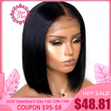 Short Bob Wig Human-Hair-Wigs Lace-Front Bleached Knots Natural-Black Straight Middle-Ratio