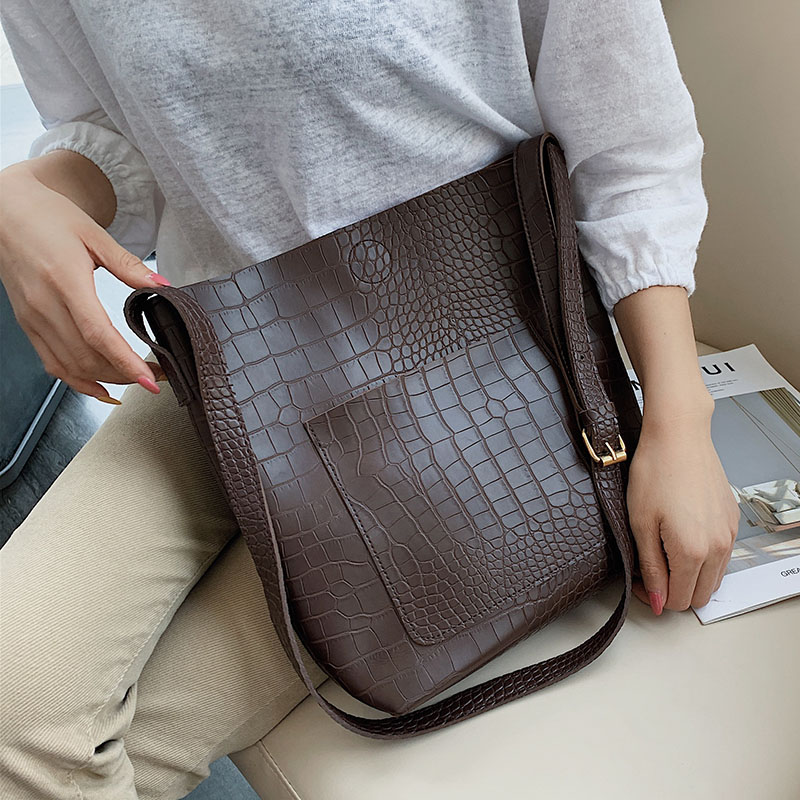 Stone Pattern Pu Leather Bucket Bags For Women Small Shoulder Messenger Bag Lady Handbags Totes