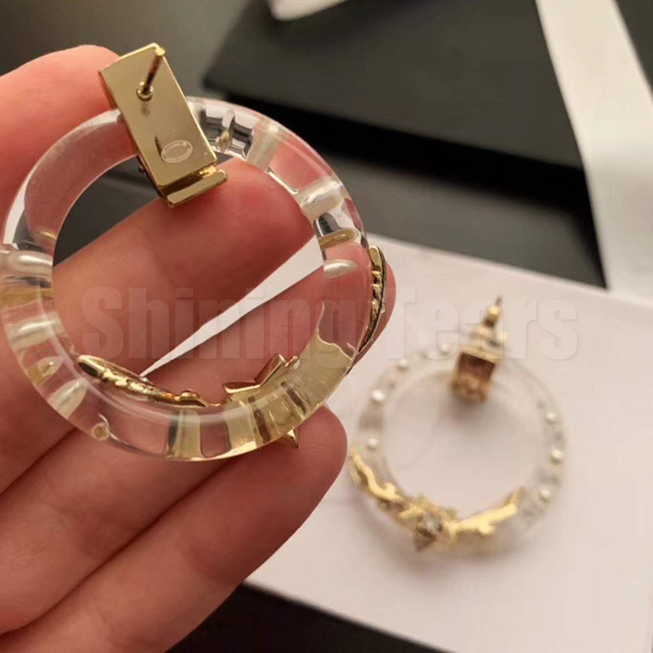 2020 Transparent Gold Stars Hoop Earring Fashion Jewelry Simple New Style Accessories For Valentine/'s Day Gift Women Pretty Gift