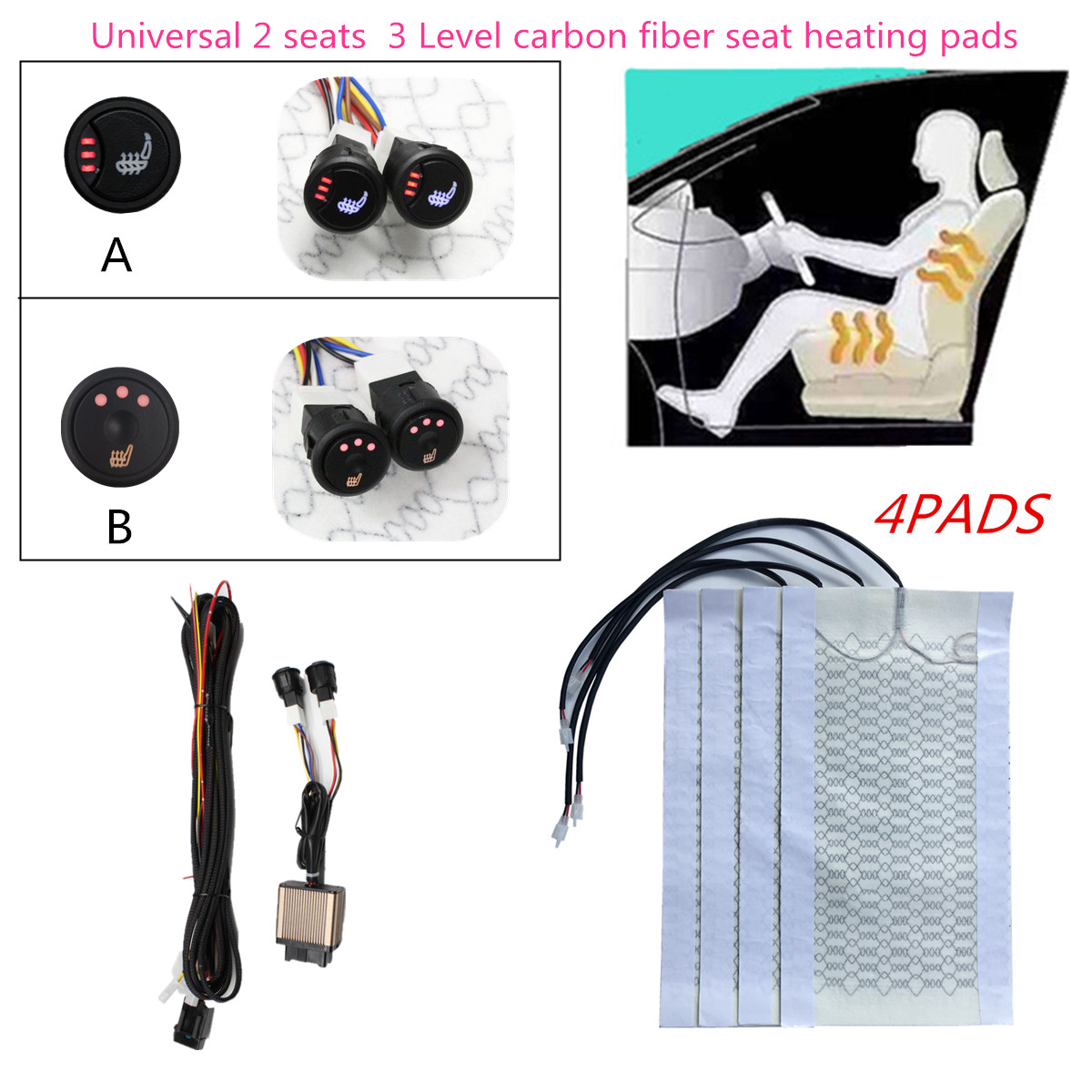 Car-Seat-Heater Round-Switch Heating Carbon-Fiber 12v-Seat for Beautiful Upgrade Any title=