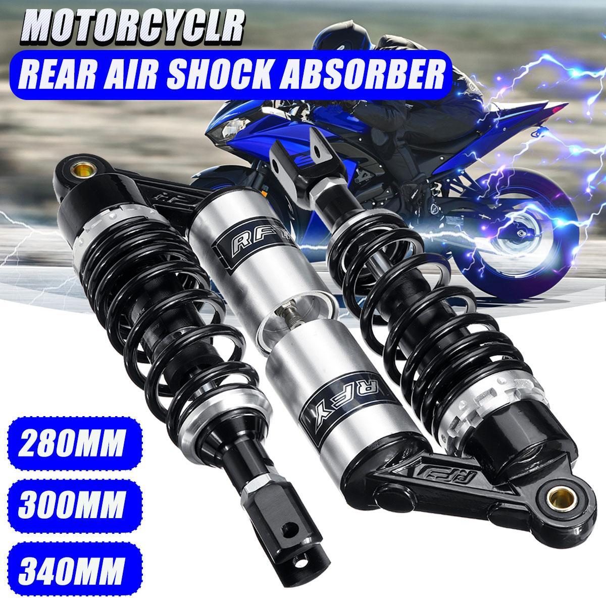 Black /& Chrome Remote Reservoir Motorcycle Shocks Eye To Eye 340mm 350mm