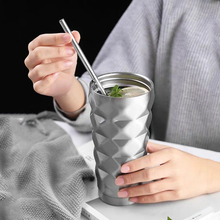 Vacuum Flasks Drink-Bottle Straw Travel Stainless-Steel Insulated-Cup 600ml with Car