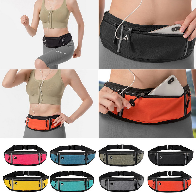 RUIQIA Running Fanny Pack for Women Black Fanny Packs for Men Adjustable Bounce Exercise Runners Belt Bag Reflective Fit Wasit Pack Workout Sport Pouch Bag Walking Cell Phone Holder