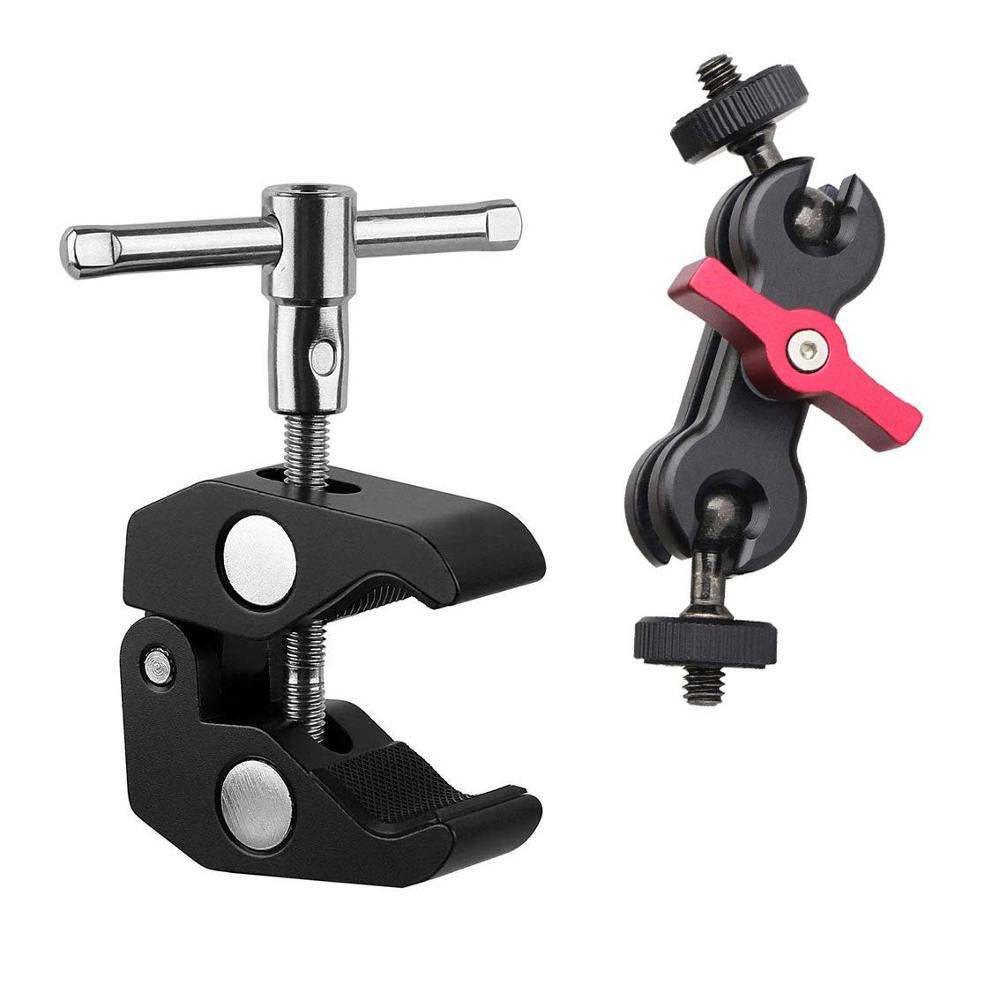 Multi-Function Magic Arm Mount Adapter with 1//4 Screw Hole for DSLR Camera Monitor//LED Flash Light Articulating Magic Arm with 360/° Rotation Ball Head