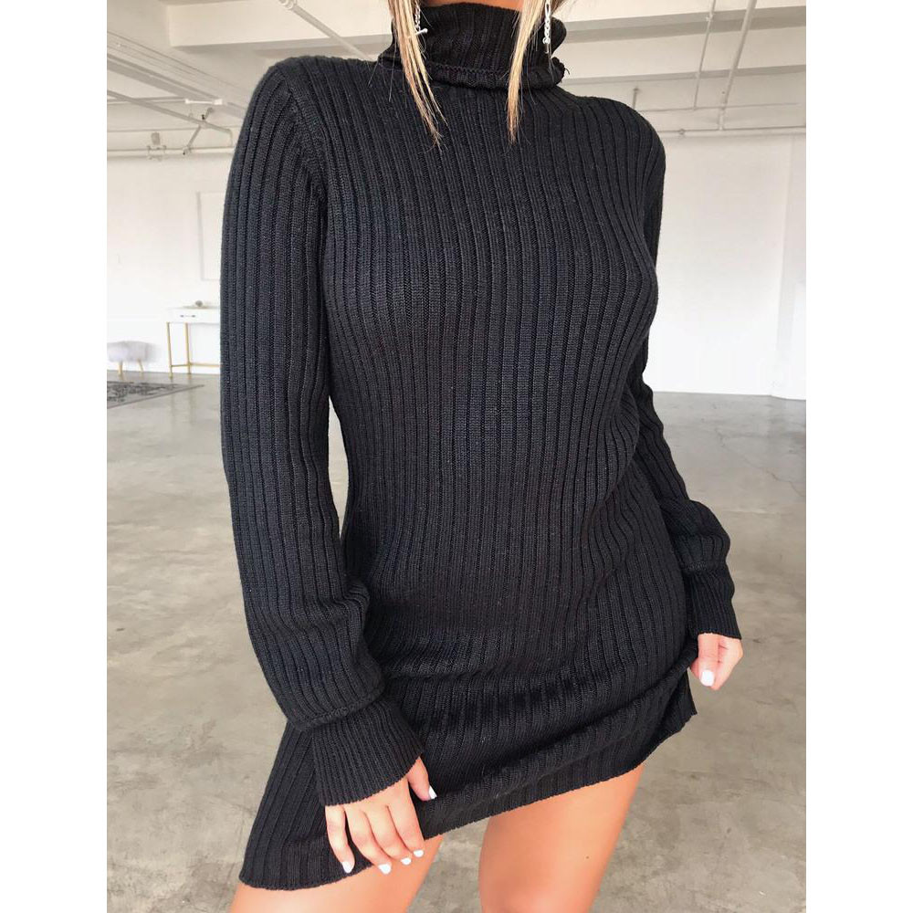 Jaycosin Fashion Casual Lady Long Sleeve Loose Turtleneck Knitted Sweater Dress Stylish Comfortable Elegant Fit Top