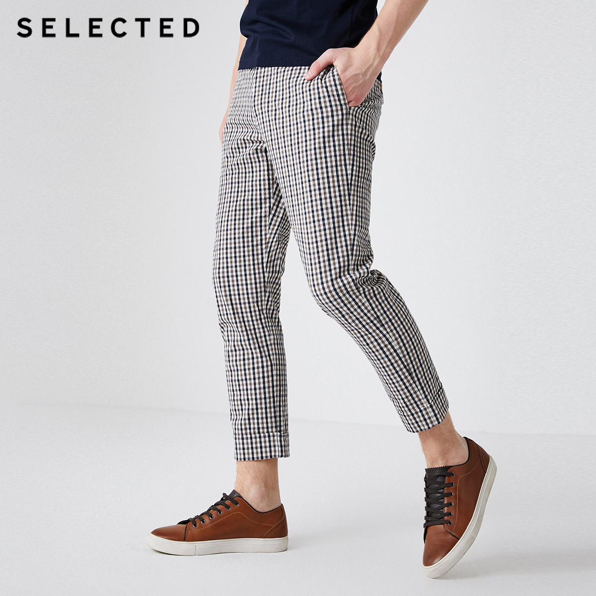 SELECTED Men's Plaid Cotton Crop Harem Pants S|419214561 title=