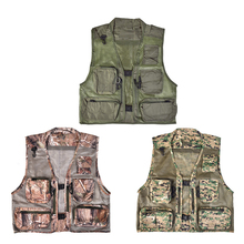 Mens Outdoor Casual Hollow Out Thin Multi-pockets Stand Collor Hooded Outerwear Camping Hunting Fishing Photography Vests Gilet
