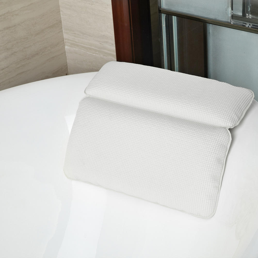 Head Luxury White Durable Cushioned Bath Pillow Relax in Comfort Neck Rest