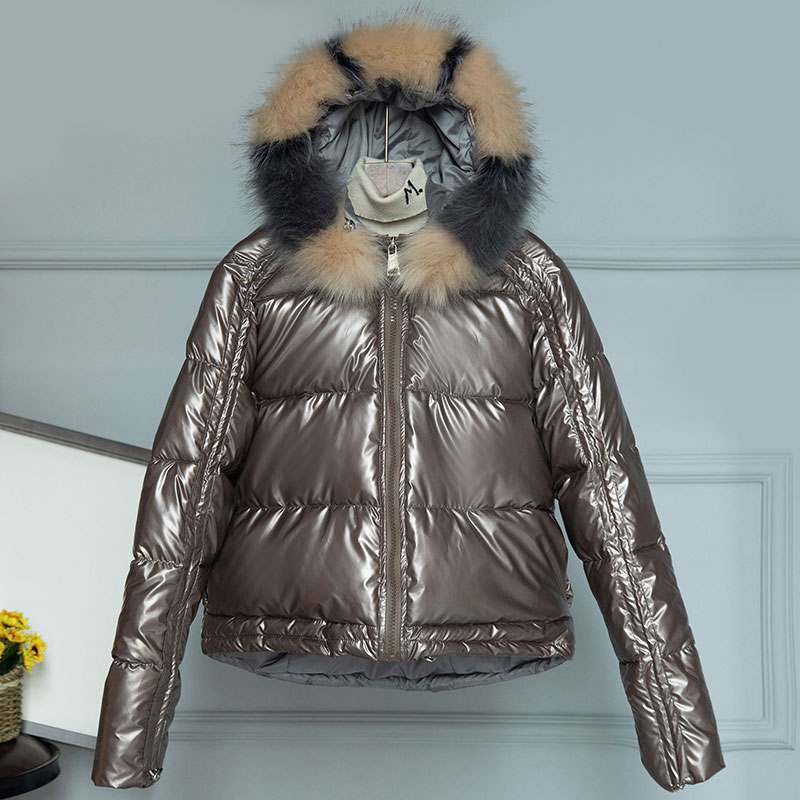Winter 90/% Duck Down Solid Glossy Women Real Racoon Fur Collar Warm Jacket Size